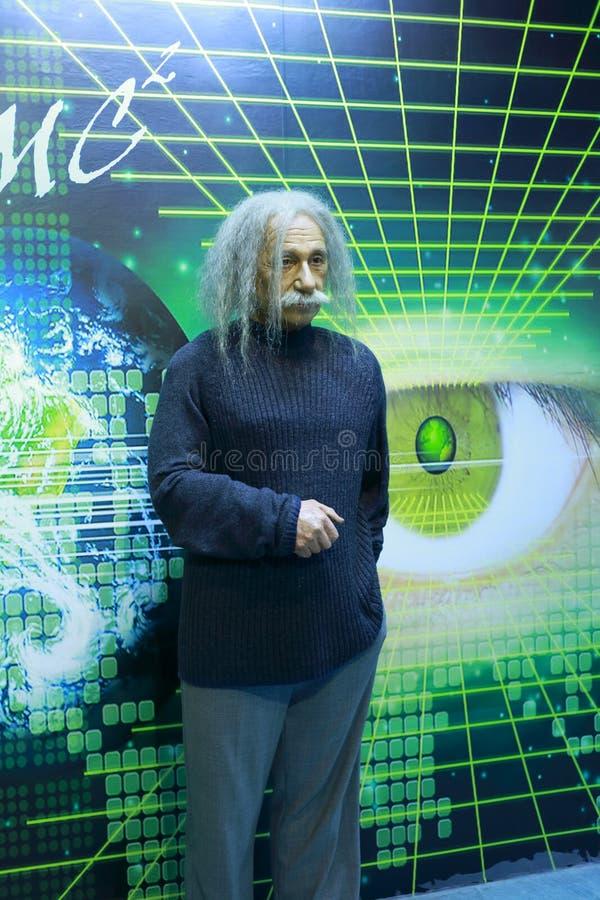 Figura de la cera de Einstein imagen de archivo libre de regalías