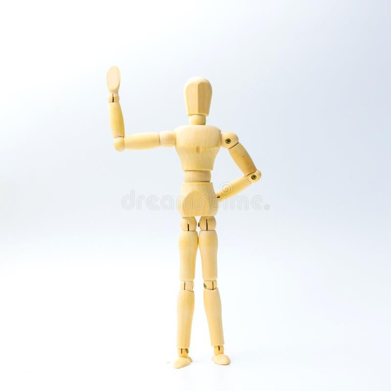 Figura de madeira boneca com emoção da parada ou da ruptura para o busine do sucesso fotografia de stock royalty free