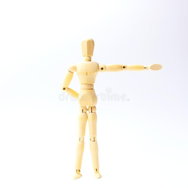 Figura de madeira boneca com vista da emoção para o engodo do negócio do sucesso imagem de stock