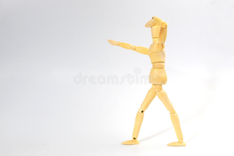 Figura de madeira boneca com vista da emoção para o engodo do negócio do sucesso imagens de stock royalty free