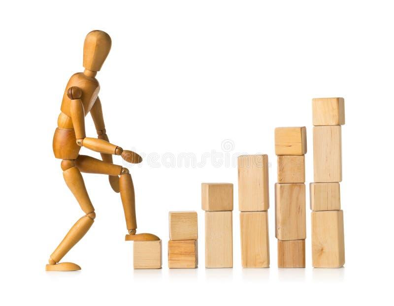 Figura de madera que toma la primera medida en los pedazos de madera del edificio del bloque que forman los pasos - concepto de l foto de archivo