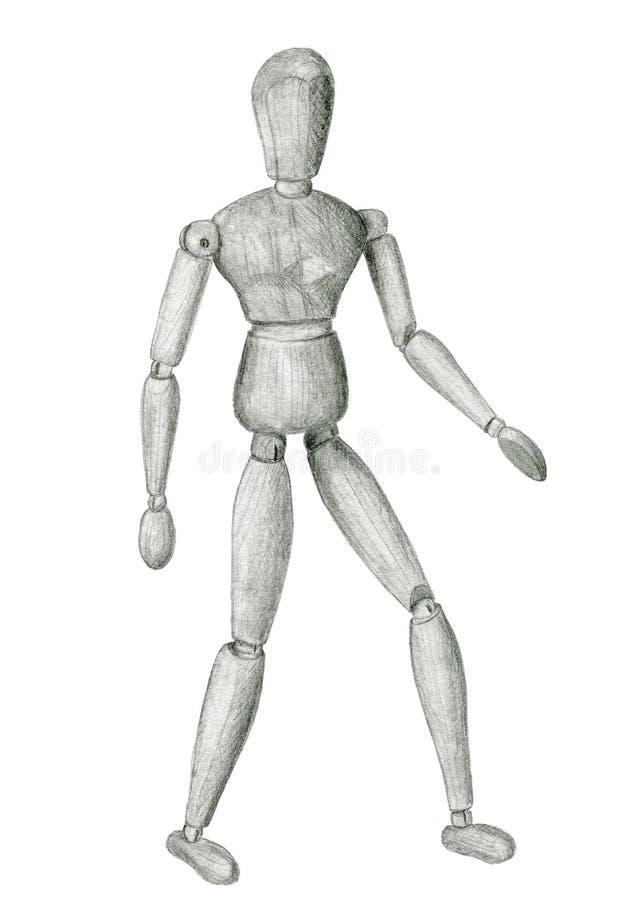 Figura de madera situación del bosquejo del lápiz stock de ilustración