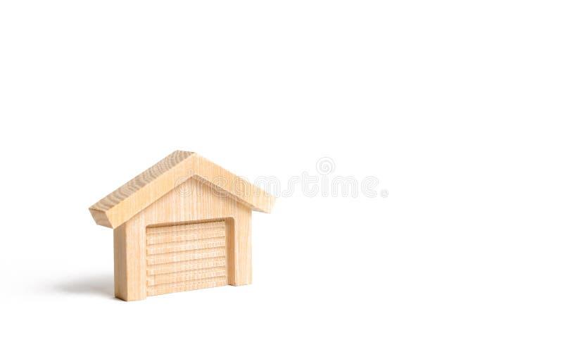 Figura de madera de un garaje o de un almacén Invenciones e innovaciones Venta de garajes y de estacionamientos para los coches imagen de archivo libre de regalías