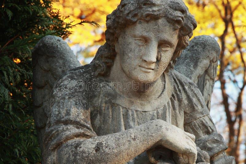 A figura de um anjo rezando no ouro sae imagem de stock