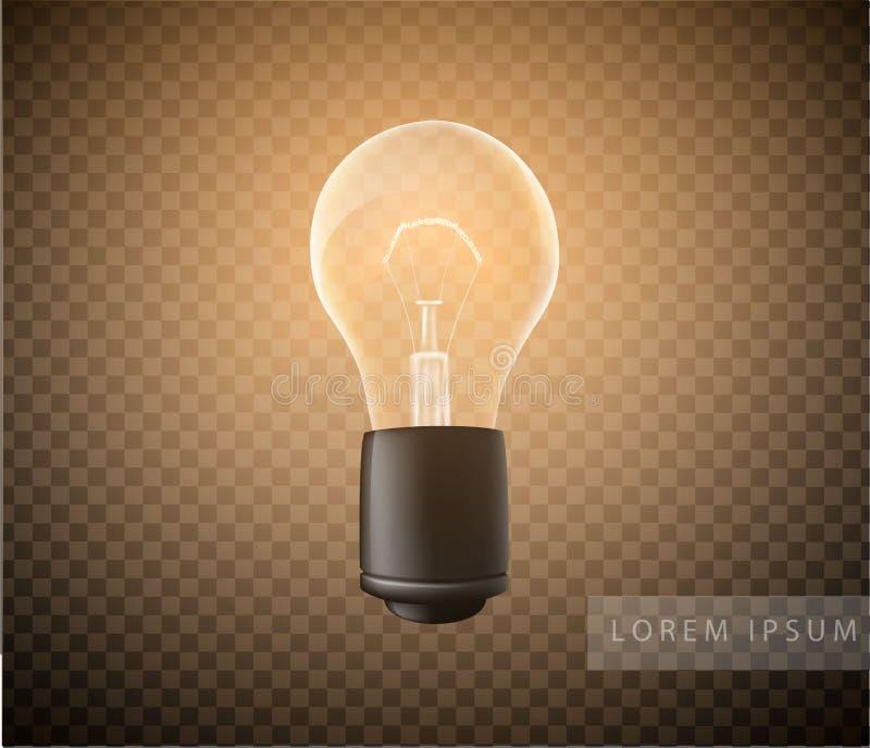 Figura de uma ampola luminosa em um transparente ilustração stock