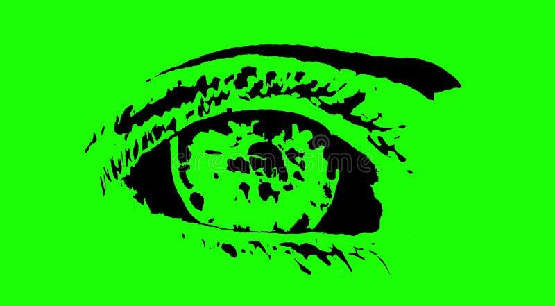 Figura de un ojo en el fondo de pantalla verde, bosquejo, estilizado, simplificado, imagen, logotipo imagenes de archivo