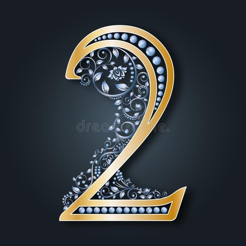 Figura decorativa 2 Ilustração de números florais Ouro e prata monogram Teste padrão do vintage ilustração stock