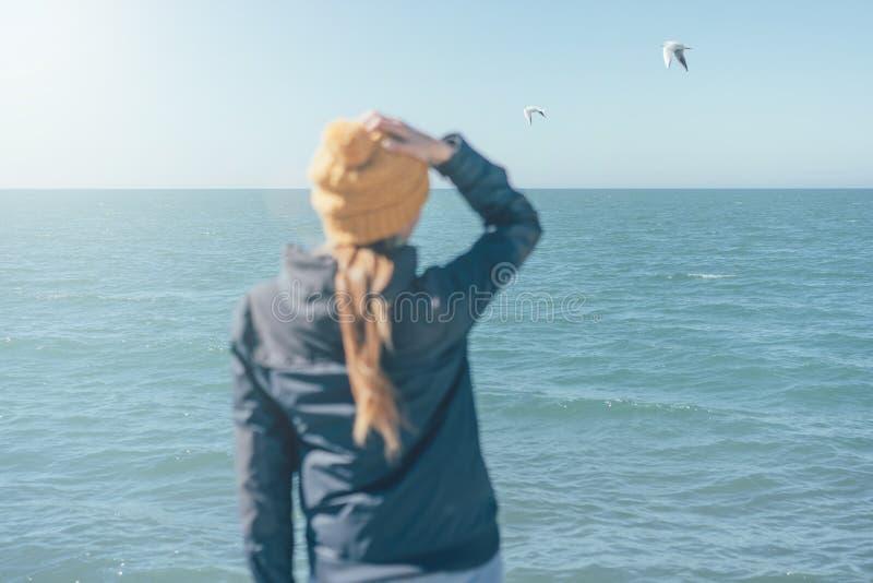 Figura Defocused opinião traseira da mulher fotos de stock