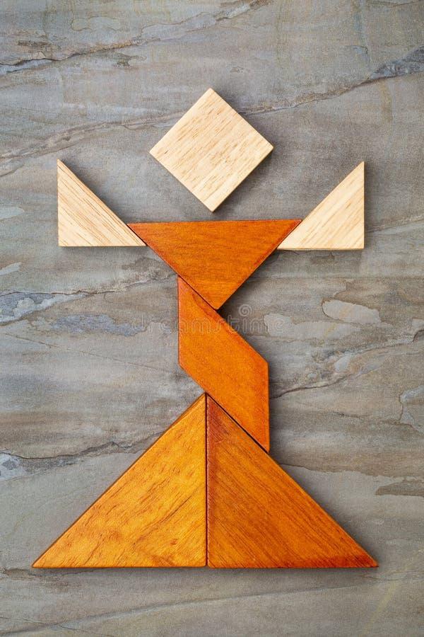 Figura del ballerino del tangram fotografia stock libera da diritti