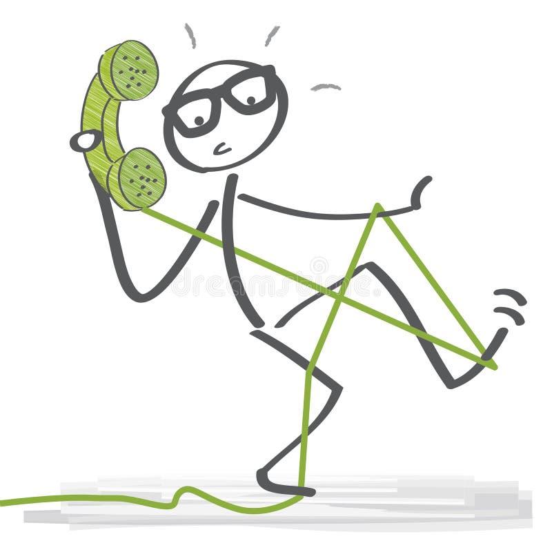 Figura del bastone che parla sul telefono illustrazione di stock
