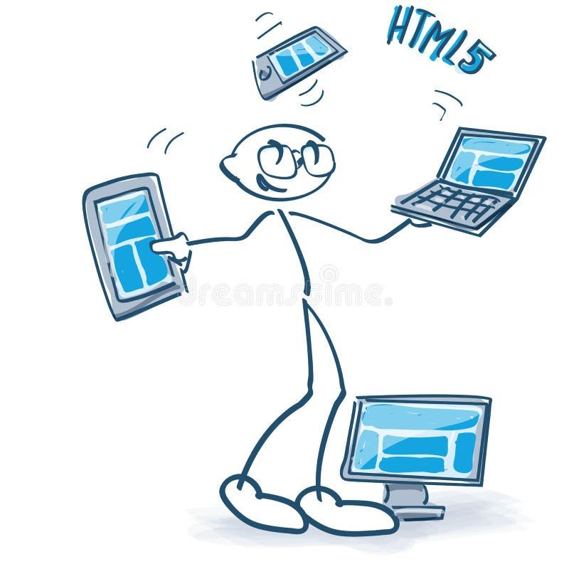 Figura del bastone con differenti computer e html5 royalty illustrazione gratis