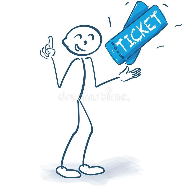 Figura del bastone con due biglietti illustrazione di stock