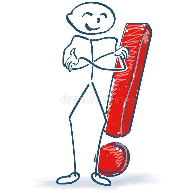 Figura del bastone con il punto esclamativo illustrazione vettoriale