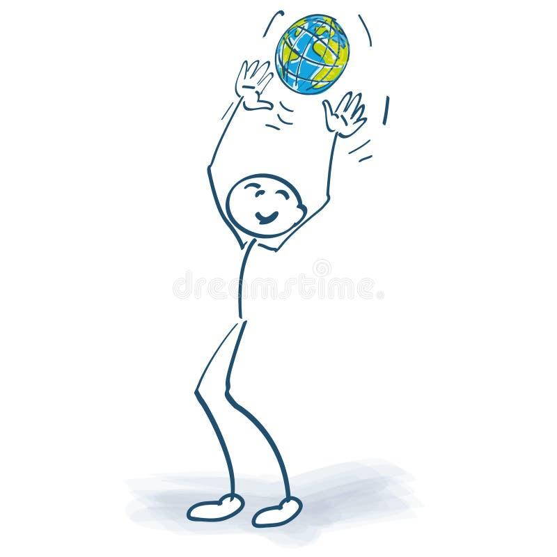 Figura del bastone con un globo illustrazione vettoriale