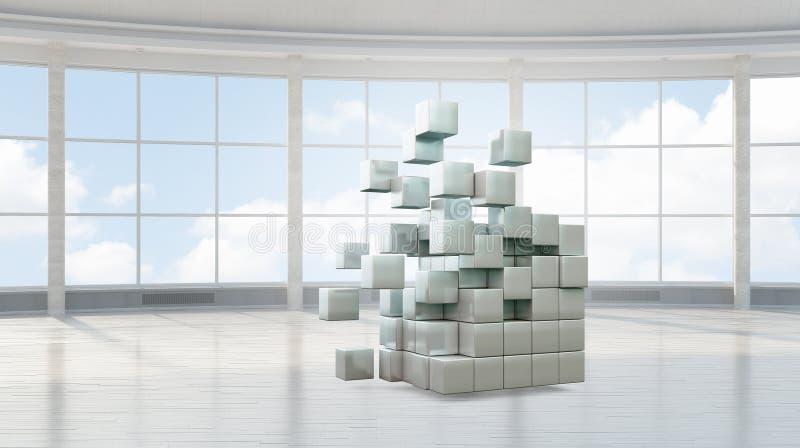 Figura del cubo en interior elegante foto de archivo libre de regalías