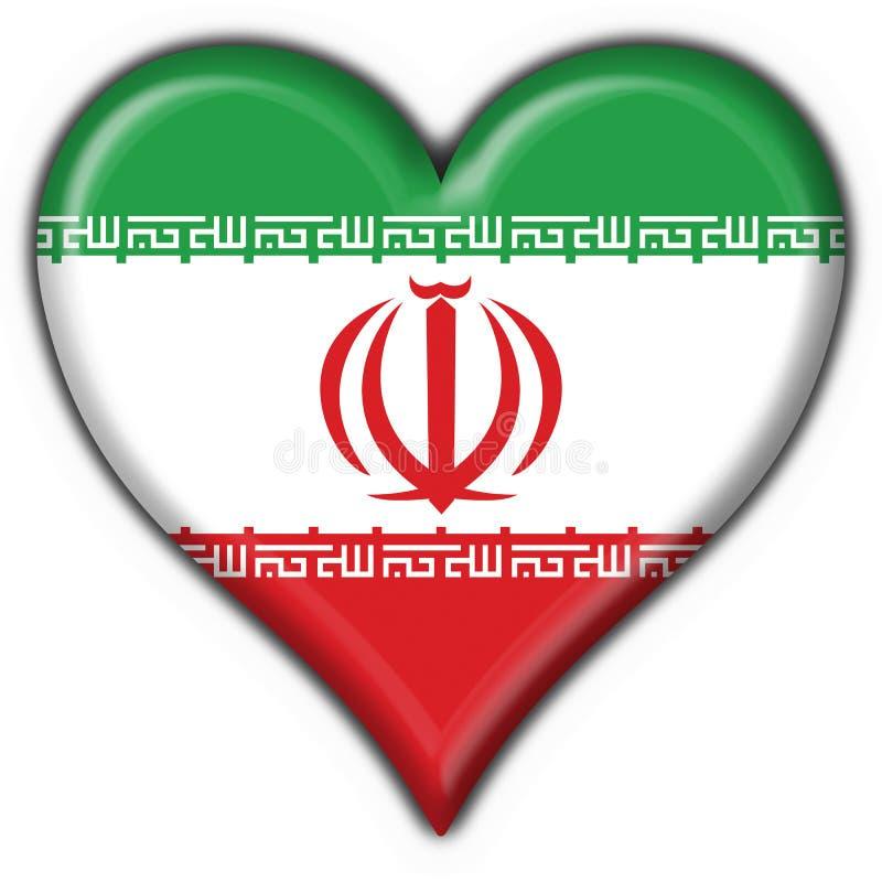 Figura del cuore della bandierina del tasto dell'Iran illustrazione di stock