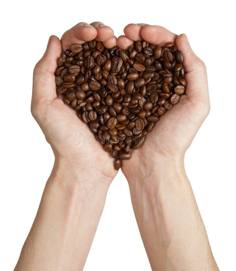 Figura del cuore fatta dai chicchi di caffè in mani immagine stock libera da diritti