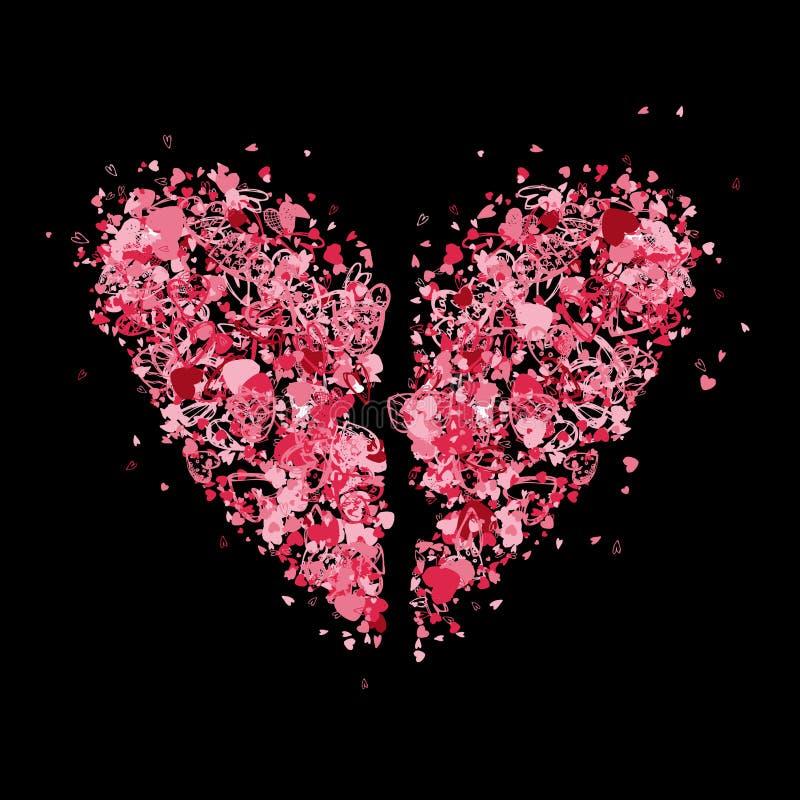 Figura del cuore rotto per il vostro disegno illustrazione vettoriale