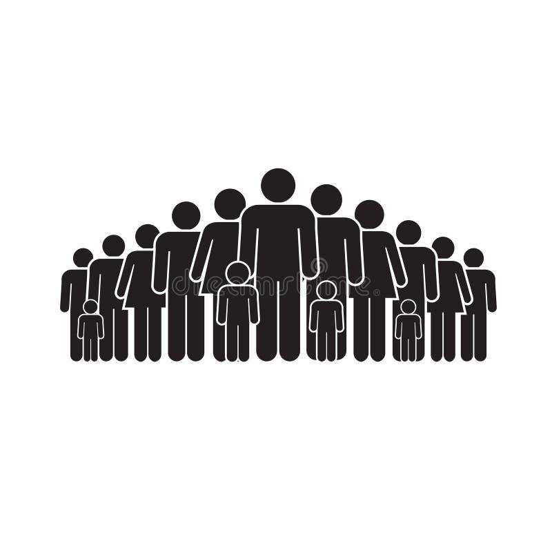 Figura del grupo de las familias en el fondo blanco ilustración del vector