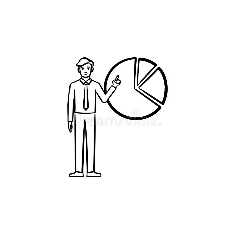 Figura del hombre con el icono dibujado mano del bosquejo del diagrama stock de ilustración