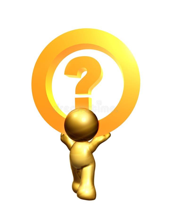 Figura del icono del oro con símbolo del signo de interrogación libre illustration