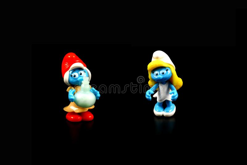 Figura del juguete de Smurf foto de archivo