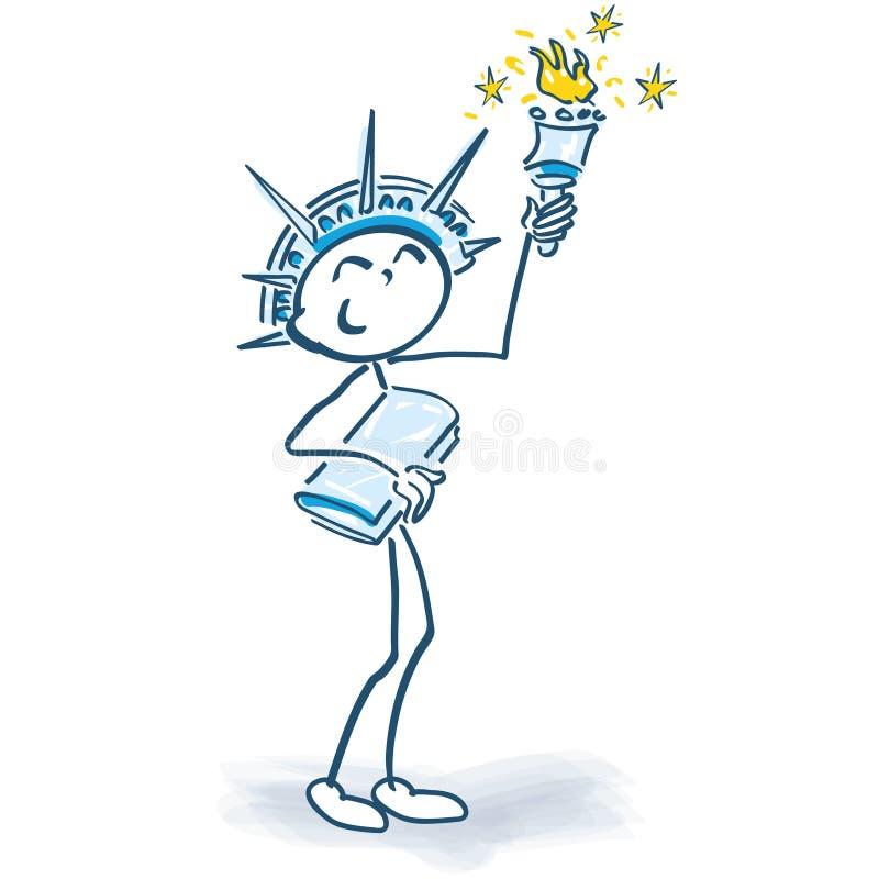 Figura del palillo como estatua de la libertad stock de ilustración