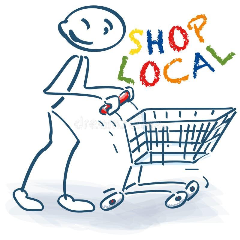 Figura del palillo con el carro de la compra y el local de la tienda ilustración del vector