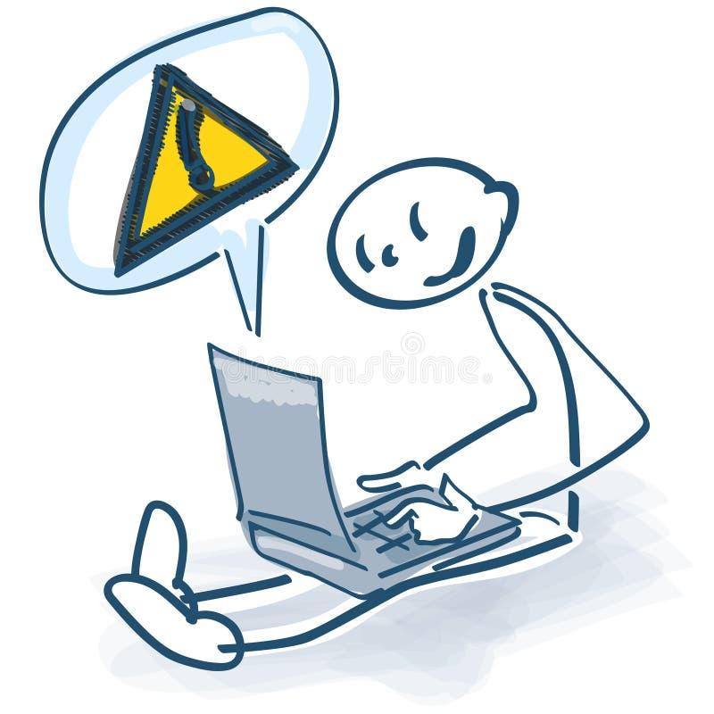 Figura del palillo con el ordenador portátil y el indicativo ilustración del vector