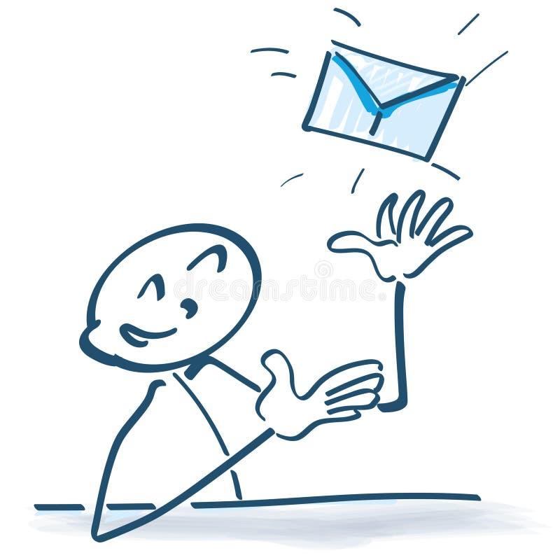 Figura del palillo con la letra y el email libre illustration
