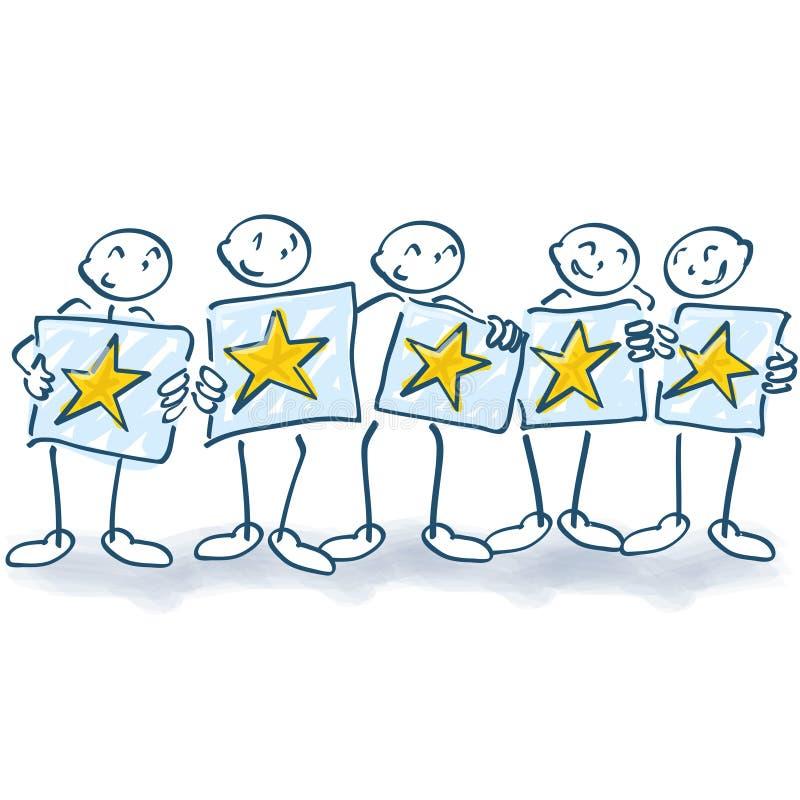 Figura del palillo con los carteles y cinco estrellas libre illustration