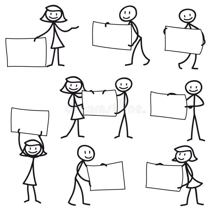 Figura del palillo del hombre del palillo que lleva a cabo la muestra en blanco libre illustration