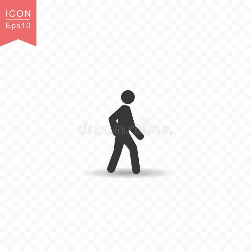 Figura del palillo un ejemplo plano simple del vector del estilo del icono de la silueta del hombre que camina en fondo transpare libre illustration