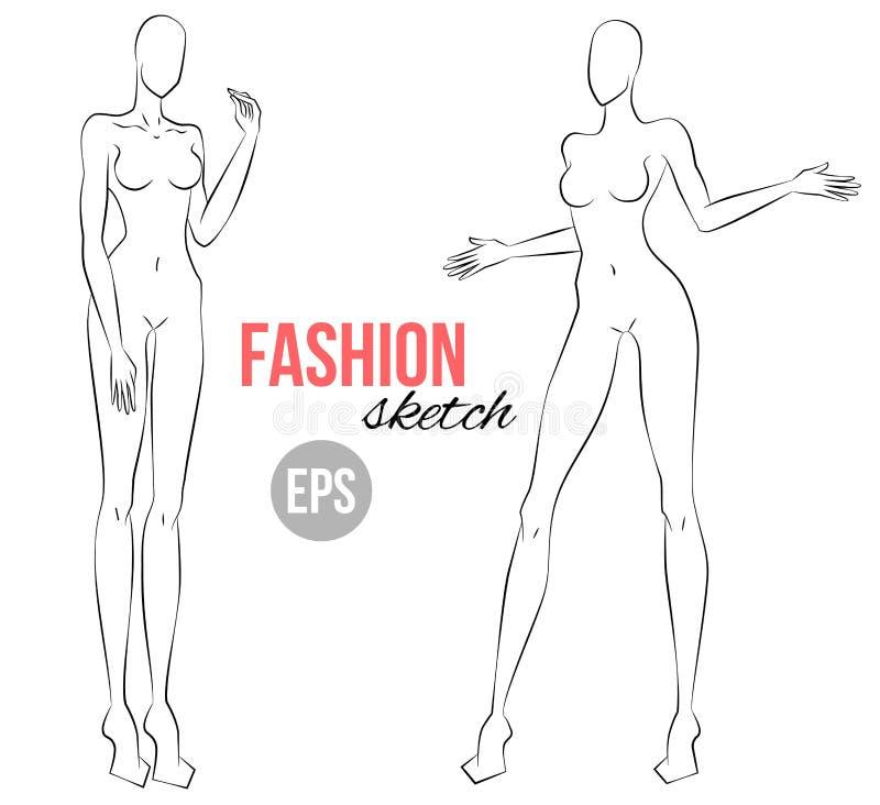Figura del ` s delle donne per lo schizzo di modo Due pose differenti Indicatore luminoso di vettore art immagine stock