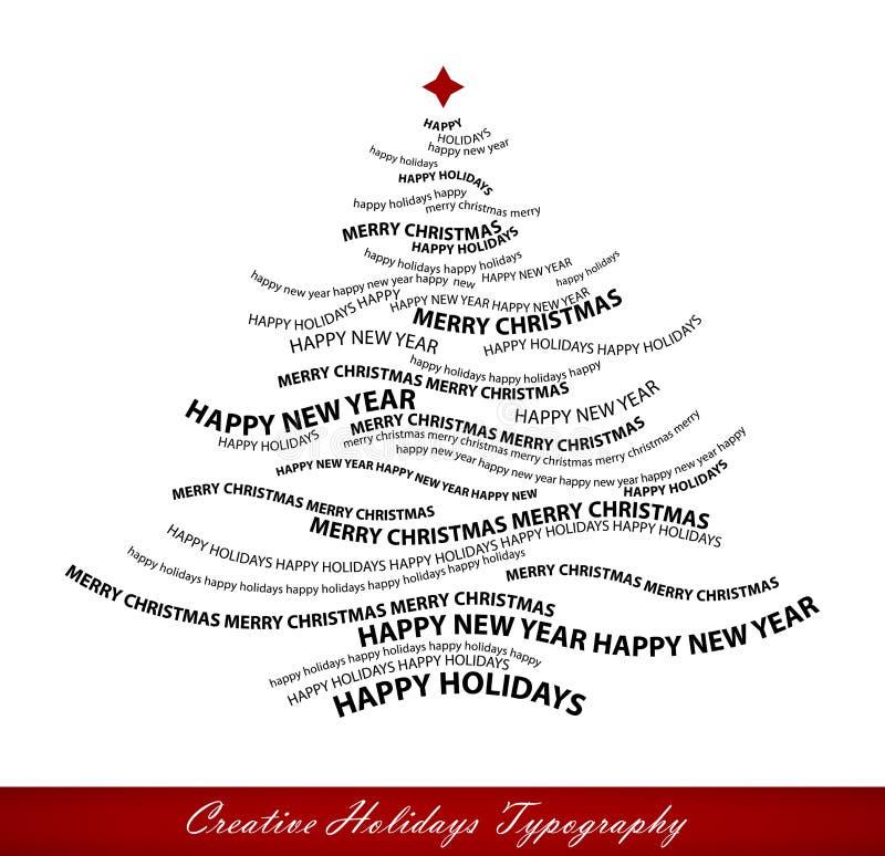 Figura dell'albero di Natale dalle parole illustrazione vettoriale