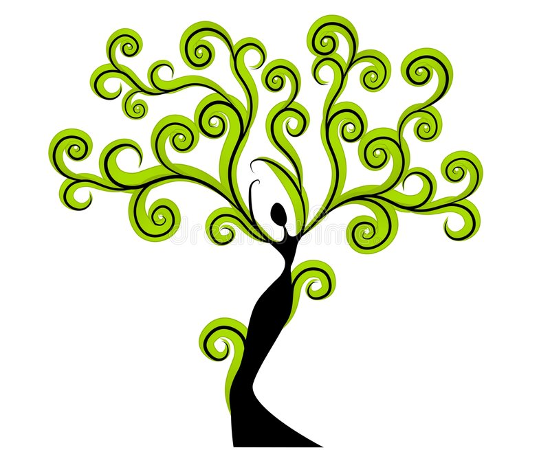 Figura della donna come albero con le filiali del braccio illustrazione vettoriale