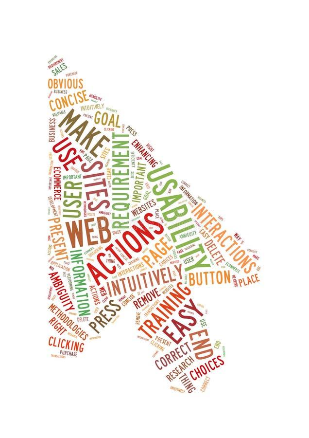Figura della freccia della nube di parola di impiego possibile di Web fotografie stock