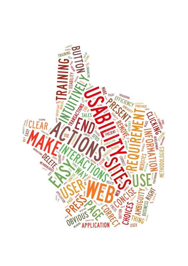 Figura della mano della nube di parola di impiego possibile di Web fotografia stock