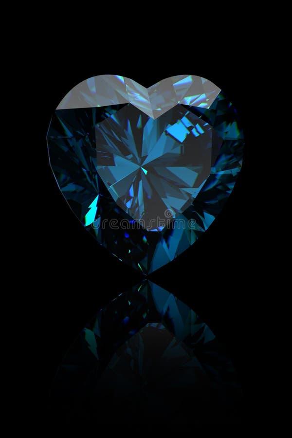 Figura della pietra preziosa di cuore. Topaz blu svizzero illustrazione vettoriale