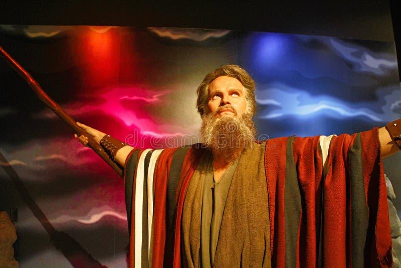 Figura della statua di cera di Charlton Heston immagini stock libere da diritti