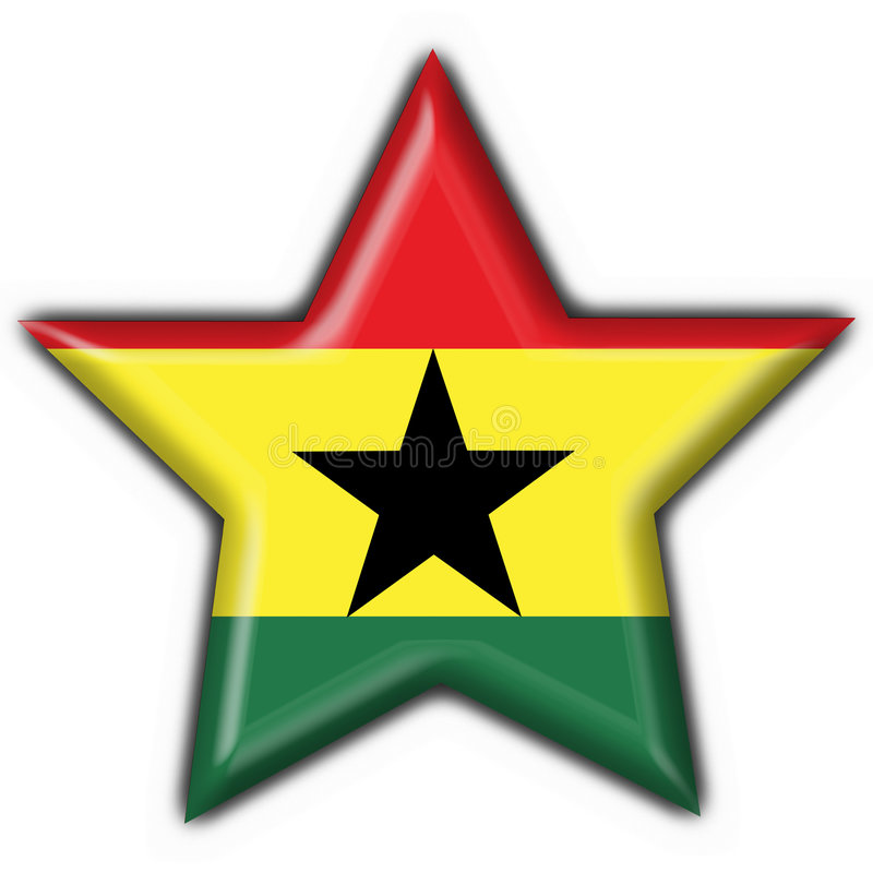 Figura della stella della bandierina del tasto del Ghana illustrazione di stock