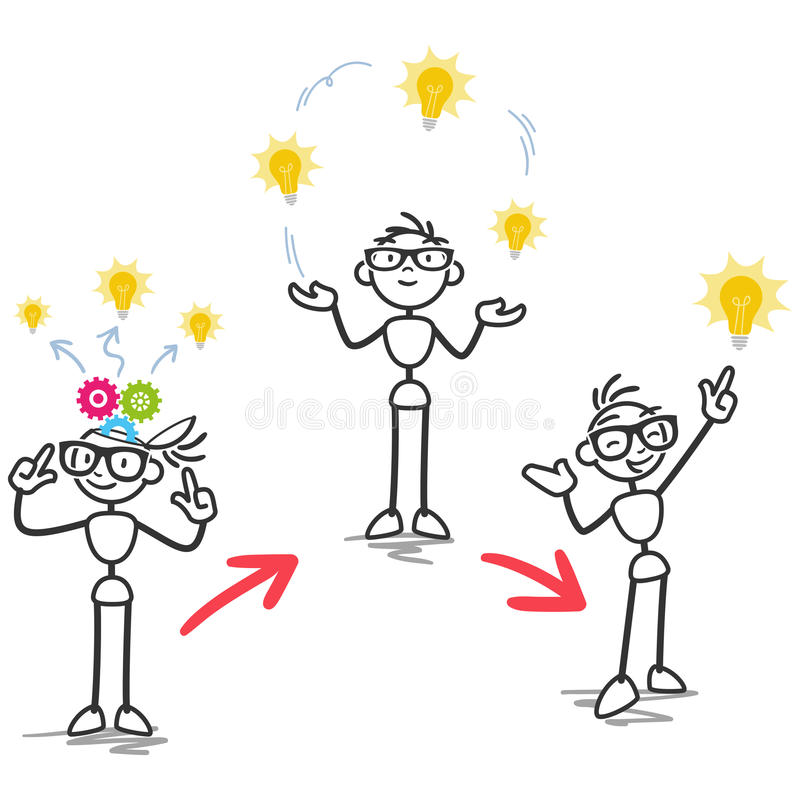Figura desarrollo de proceso del palillo de la idea libre illustration