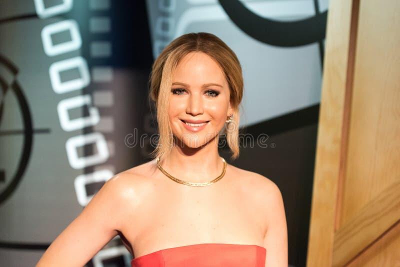 Figura di cera di Jennifer Lawrence al museo di signora Tussauds a Costantinopoli fotografia stock