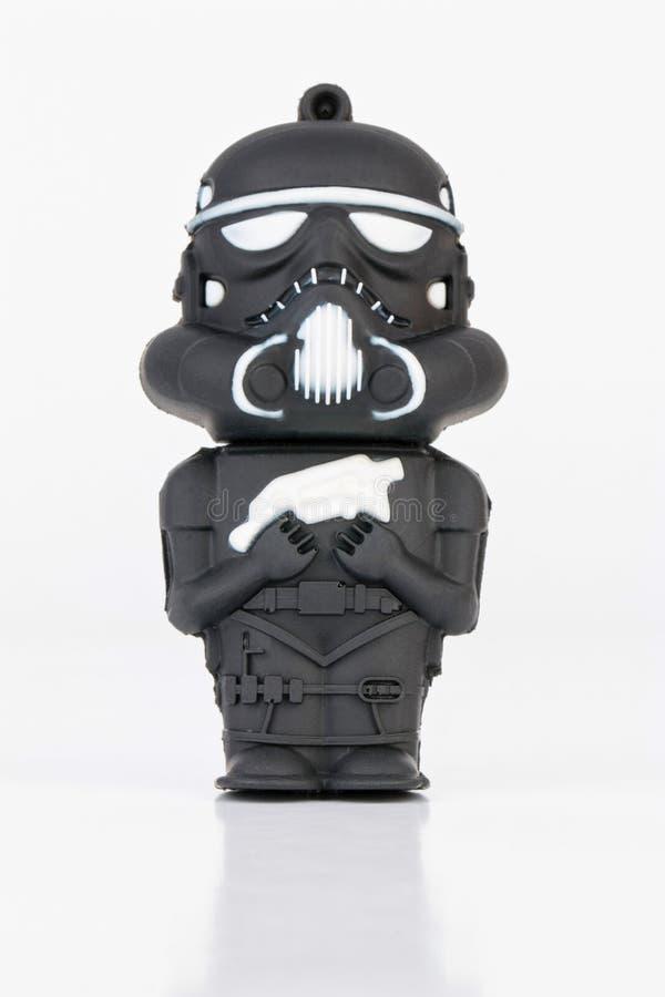 Figura di gomma dello Stormtrooper mini da Star Wars fotografia stock