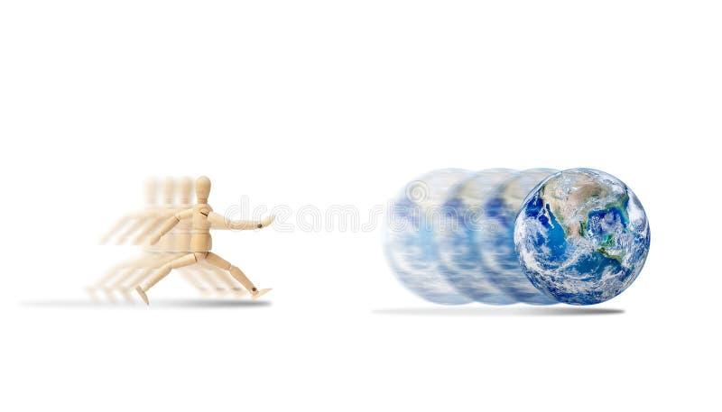 Figura di legno manichino che corre per prendere funzionamento della terra immagine stock