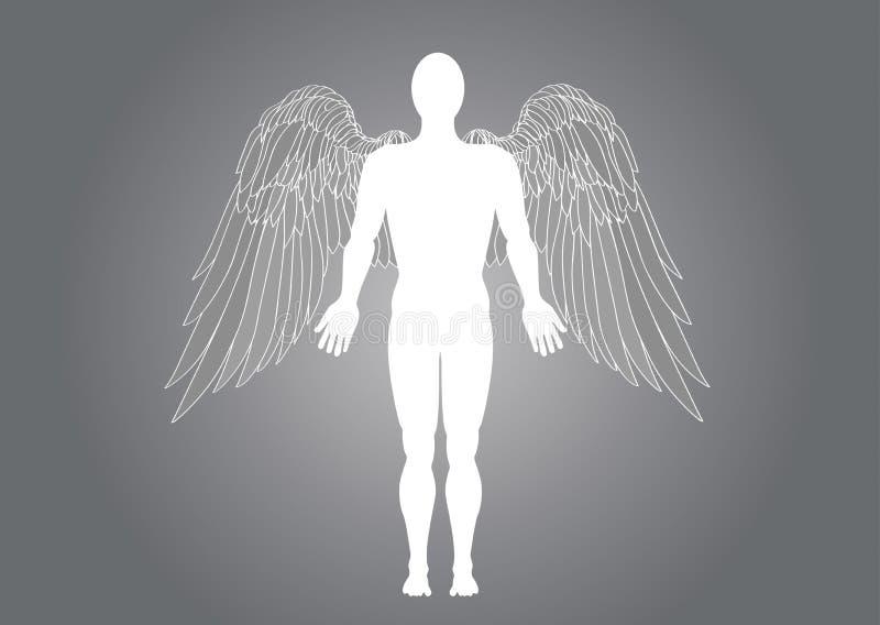 Figura di un uomo di angelo Illustrazione di vettore su fondo grigio royalty illustrazione gratis