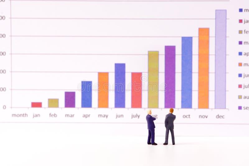 Figura diminuta executivos que olham a carta do gráfico de barra imagens de stock royalty free