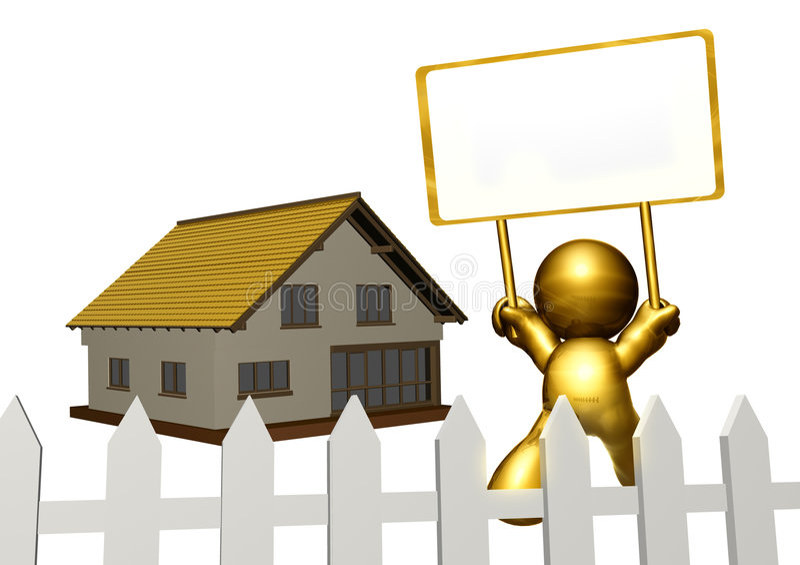 Figura do ícone do ouro que vende a propriedade ilustração stock