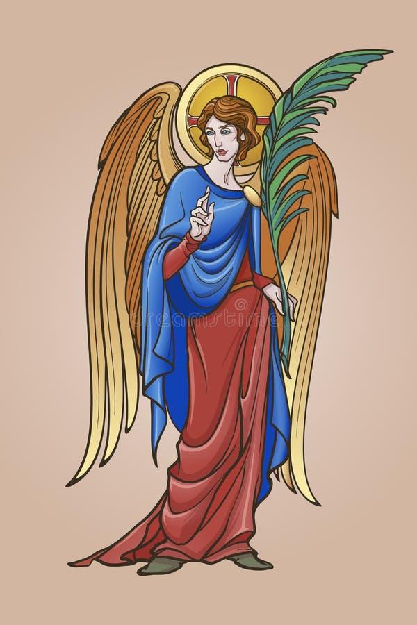 Figura do anjo com ramo do gesto e da palma da bênção ilustração royalty free