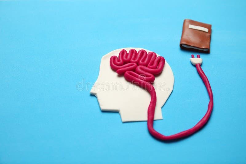 Figura do homem com c?rebro e do livro para aprender Aptid?o para a mente, auto-desenvolvimento foto de stock royalty free